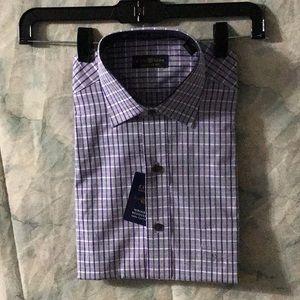 NWT Macy's Club Room grape check shirt 15-32/33